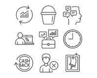 Business portfolio, Online education and Cashback icons. Bucket, Update data and Messages signs. Set of Business portfolio, Online education and Cashback icons Stock Image