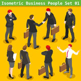 Business Poses 01 People Isometric. Modern Business Gestures. Corporate Agreement. 3D Flat People Big Icon Set. Businessman and Secretary Realistic Poses Royalty Free Stock Photography
