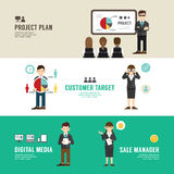 Business position design concept people set presentation. Planning, meeting, success, sale, manager, partnership. with flat icons. vector illustration Stock Photo