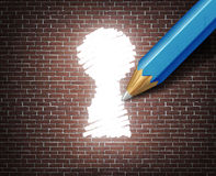Business Possibility. Idea concept as a white tipped pencil drawing a keyhole shape on a brick wall as an access to opportunity metaphor for finding a way to Stock Photography