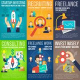 Business Poster Set. Business mini poster set with startup investing recruiting freelance work promo isolated vector illustration Stock Images