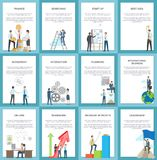 Business Posters Depicting Hard-Working Employees royalty free illustration