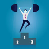 Business Power Strength Concept. Vector illustration. Business power strength concept. Strong super businessman lifting heavy barbel iron wight above his head Royalty Free Stock Images