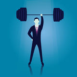 Business Power Strength Concept. Vector illustration. Business power strength concept. Strong super businessman lifting heavy barbel iron wight above his head Stock Photos