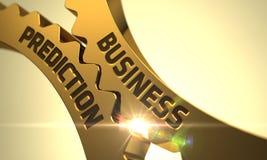Business Prediction Concept. Golden Cog Gears. 3D. Stock Photos