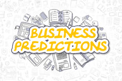 Business Predictions - Doodle Yellow Text. Business Concept. Royalty Free Stock Photos