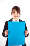 Business presentation #12. Business woman holding a blank banner Stock Photo
