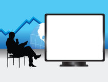 Business Presentation. Illustration of a man thinking on a presentation, with a blank space for text stock illustration