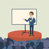 Business presentation with audience. Man presenter on the stage with template screen vector illustration