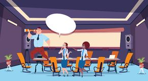 Business presentation bubble concept businessman hold binoculars team brainstorming group of business people. Professionals meeting discussing report in office royalty free illustration