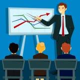 Business Presentation. Businessman Shows Statistics on Board Royalty Free Stock Photo