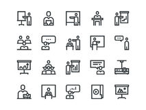 Business Presentation colorless icons. Vector outline set. Business Presentation colorless icons. Vector outline set Royalty Free Stock Photo