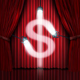 Business Presentation. Or company sales pitch to find investors in a new financial venture as a stage with red silk curtains or drapes with shinning spot lights Stock Photography