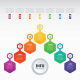 Business presentation concept with 7 options. Annual report. Web. Template of a sales pipeline, purchase funnel, info chart or diagram. Vector infographic of Stock Photo
