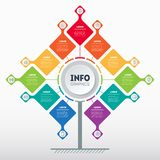 Business presentation concept with 11 options. Template of tree, info chart or diagram with eleven process. Vector infographic of. Technology or education with royalty free illustration