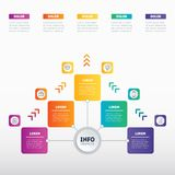 Business presentation concept with 5 options. Web Template of a. Sales pipeline, purchase funnel, info chart or diagram. Vector infographic of technology or Royalty Free Stock Images