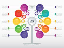 Business presentation concept with 10 options. Web Template of s. Ervice tree, info chart or diagram. Vector infographic of technology or education process with Stock Illustration