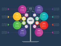 Business presentation concept with 8 options. Web Template of se. Rvice tree, info chart or diagram. Website. Vector infographic of technology or education vector illustration