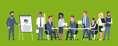 Business Presentation Concept Team Brainstorming Group Of Businesspeople Professionals Meeting Discussing Report Or. Market Data Flat Vector Illustration royalty free illustration