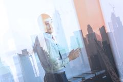 Business presentation on corporate meeting against new york city window reflections. royalty free stock image