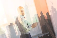 Business presentation on corporate meeting against new york city window reflections. stock photo