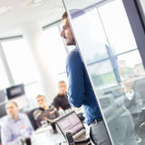 Business presentation on corporate meeting. Royalty Free Stock Images