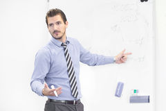 Business presentation on corporate meeting. Royalty Free Stock Photo