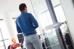 Business presentation on corporate meeting. Royalty Free Stock Image