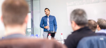 Business presentation on corporate meeting. Stock Image