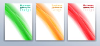 Three Brochure Cover Templates Vector Design for Business Presen Royalty Free Stock Image