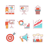 Business presentation, education, seminar, lecture. Speech analytics and statistics thin line icons set. Modern flat style symbols isolated on white for Royalty Free Stock Images