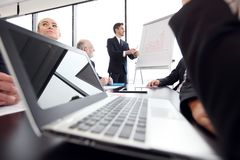 Business presentation at flipchart stock photo