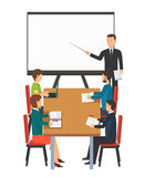 Business presentation for group of people. vector illustration