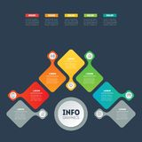 Business presentation or info graphic with 5 options. Vector inf. Ographics or mind map of technology or education process. Web Template of a chart, mindmap or Royalty Free Stock Photography