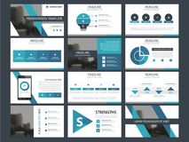 Business presentation infographic elements template set, annual report corporate horizontal brochure design. Template Royalty Free Stock Photo