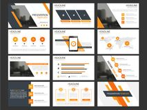 Business presentation infographic elements template set, annual report corporate horizontal brochure design. Template Stock Images