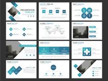 Business presentation infographic elements template set, annual report. Corporate horizontal brochure design template Stock Photography