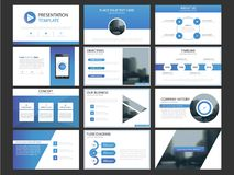 Business presentation infographic elements template set, annual report. Corporate horizontal brochure design template Stock Photo