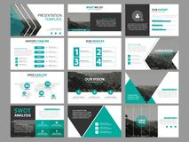 Business presentation infographic elements template set, annual report corporate horizontal brochure design. Template Royalty Free Stock Images