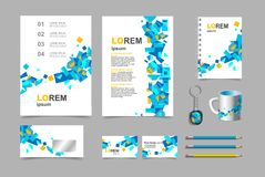 Business presentation infographic elements template set, annual report corporate vertical brochure design. Pencil, mug, keychain, royalty free illustration