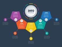 Business presentation, infographic or mind map with 5 options. V Stock Photos