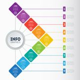 Business presentation or infographic with 9 options. Example of. A chart, mindmap or diagram with 9 steps. Vector infographics or mind map of technology or Royalty Free Stock Photos