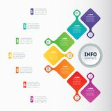 Business presentation or infographic with 7 options. Vector info. Graphics or mind map of technology or education process with 7 steps. Web Template of a chart Stock Photography