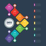 Business presentation or infographic with 7 options. Vector info. Graphics or mind map of technology or education process with 7 steps. Web Template of a chart Stock Photos