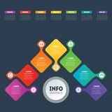 Business presentation or infographic with 7 options. Web Templat. E of a chart, mindmap or diagram. Vector infographics or mind map of technology or education Stock Images