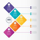 Business presentation or infographic with 5 options. Web Templat. E of a chart, mindmap or diagram. Vector infographics or mind map of technology or education Stock Photo