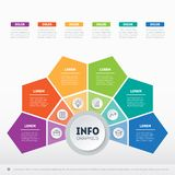 Business presentation or infographics concept with 6 options. We. B Template of a circle info chart, diagram or presentation. Vector infographic of technology or Stock Photo