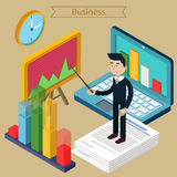 Business Presentation Isometric Concept with Businessman, Laptop. Charts. Vector illustration Royalty Free Stock Photography