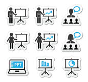 Business presentation, lecture, speech  icons Stock Image