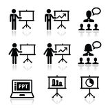 Business presentation, lecture, speech  icons Royalty Free Stock Images